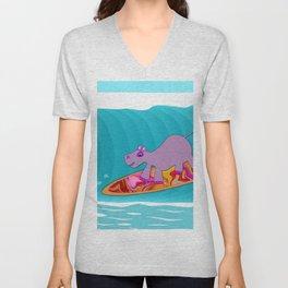 Just Like Momma - Hippos Surfing Unisex V-Neck