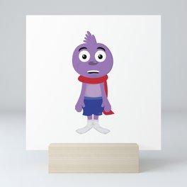 Certified Bird Lover? A cute t-shirt  of a Cute Startled Bird With Scarfs and Socks On T-shirt Mini Art Print