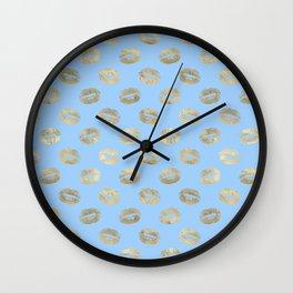 Glam Gold Kiss Lips Imprint Pattern Wall Clock
