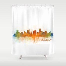 Austin Texas, City Skyline, watercolor  Cityscape Hq v3 Shower Curtain