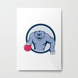 Grizzly Bear Angry Dribbling Basketball Cartoon Metal Print