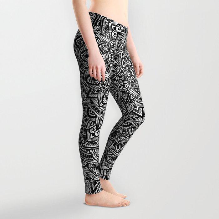 Zen Black and white Mandala Leggings