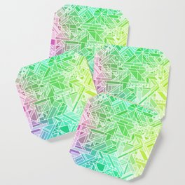Bright Gradient (Violet Purple Lime Green Neon Yellow) Geometric Pattern Print Coaster