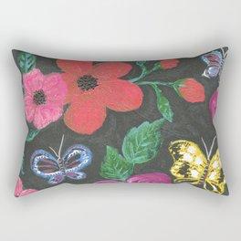 Garden at night - flowers in dark background Rectangular Pillow
