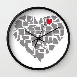States of Love...Ohio Wall Clock