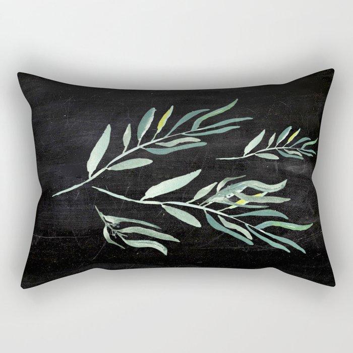 Eucalyptus Branches On Chalkboard II Rectangular Pillow