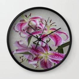 Pink Lillies Wall Clock