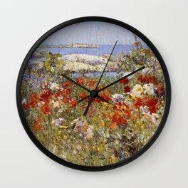 Celia Thaxter's Garden, Isles of Shoals, Maine - Childe Hassam Wall Clock