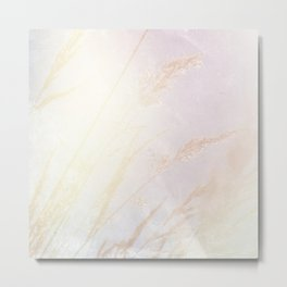 Abstract summer blush pink yellow whey pattern Metal Print