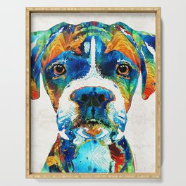 Colorful Boxer Dog Art By Sharon Cummings Serving Tray