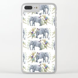 Elephants On Parade Illustration - Bagaceous Clear iPhone Case