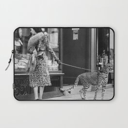 Woman with Cheetah, Phyllis Gordon, with her pet Kenyan cheetah, Paris, France black and white photo Laptop Sleeve