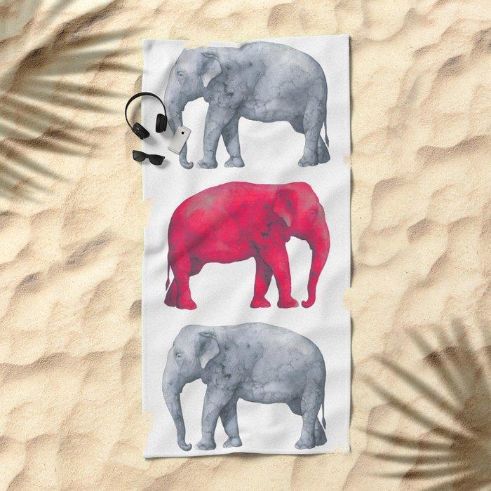 Elephants Red II Beach Towel
