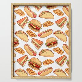 Pattern with burgers, sandwiches, tacos, hot dogs and onion rings Serving Tray