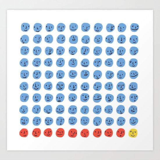 100 Smiling Dots Art Print