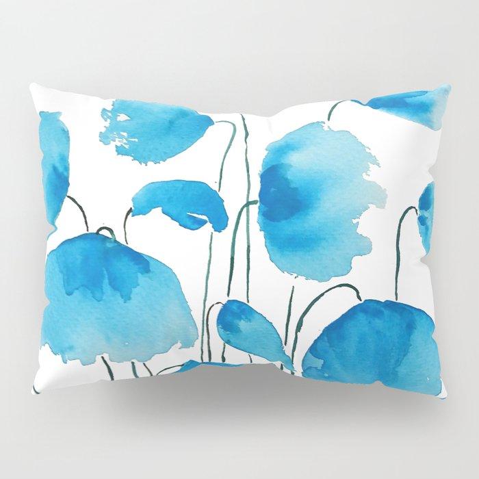 blue poppy field watercolor Pillow Sham