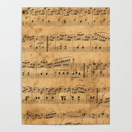 Music sheets, ancient Poster
