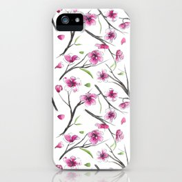 Cherry blossom in watercolor on a white background iPhone Case