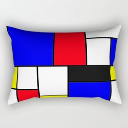 Red Blue Yellow Geometric Squares Rectangular Pillow