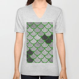 Dragon Scales with Green Outline Unisex V-Neck