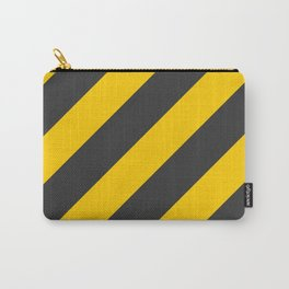Stripes Diagonal Black & Yellow Carry-All Pouch