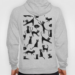 Black cats, seamless patten Hoody