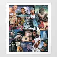 hip hop Art Prints featuring HIP HOP by BONES ART