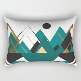 Art Deco Mountain Teepees In Turquoise Rectangular Pillow