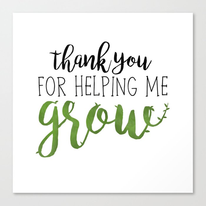 Delicate image in thank you for helping me grow printable