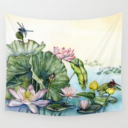 Japanese Water Lilies and Lotus Flowers Wall Tapestry