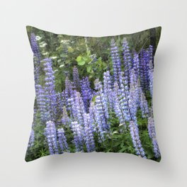 Lupins in Blue and Purple Throw Pillow