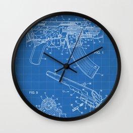 Ak-47 Rifle Patent - Ak-47 Firing Mechanism Art - Blueprint Wall Clock