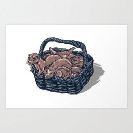 Basket of Ferrets Art Print