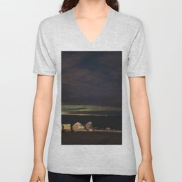 New Years eve Aurora peaking though the clouds Unisex V-Neck
