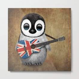 Baby Penguin Playing Union Jack British Flag Guitar Metal Print