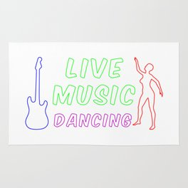 Live Music and Dancing Neon Sign Rug