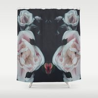 vintage flowers Shower Curtains featuring Vintage Flowers by C O R N E L L