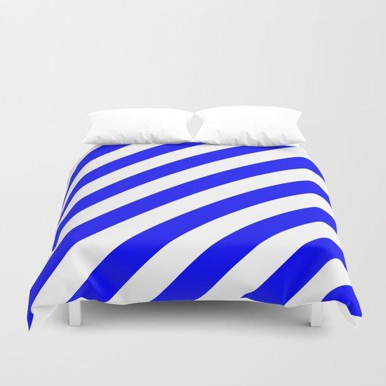 Diagonal Stripes (Blue/White) Duvet Cover