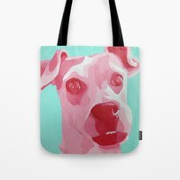 jack russell Tote Bags featuring Jack Russell by Caroline Ward