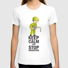 """Pacific Poster: """"Keep Calm and Stop Shooting"""". Funny Soldier T-shirt"""