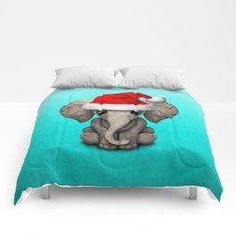 Christmas Elephant Wearing a Santa Hat Comforters