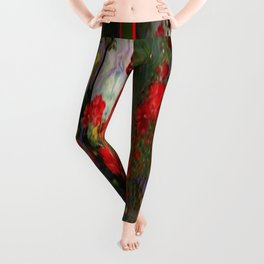 Red Geraniums Spring Florals Moss Green pattern Abstract Leggings