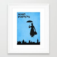 mary poppins Framed Art Prints featuring Mary Poppins by TheWonderlander