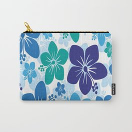 hibiscus flowers green blue white hawaiian Carry-All Pouch