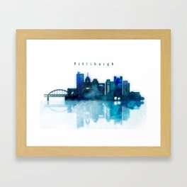 Watercolor cityscape of Pittsburgh city Framed Art Print