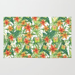 Tropical Watercolor Greenery Botanical Rug