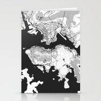 hong kong Stationery Cards featuring Hong Kong Map Gray by City Art Posters