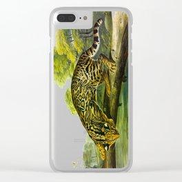 Leopard Cat Vintage Illustration y John James Audubon Clear iPhone Case