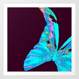 Turquoise Butterfly On A Dark Background #decor #buyart #society6 Art Print