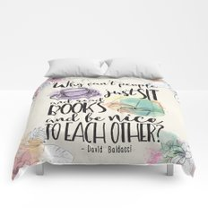 Why Can't People Just Sit And Read Books - Bookish Design Comforters
